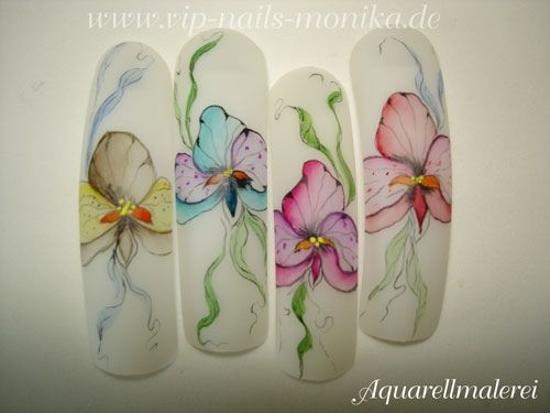 Aquarell-Flowers by vipnailsmonika - Nail Art Gallery nailartgallery.nailsmag.com by Nails Magazine www.nailsmag.com #nailart