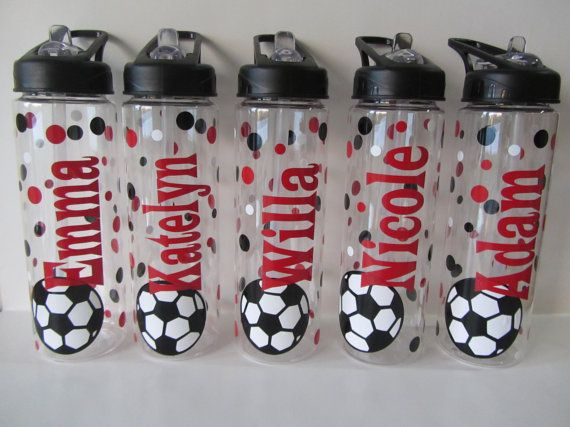 8 Personalized water bottles - volleyball, soccer or other sport - NEW - mix and match - clear plastic, BPA free with flip top