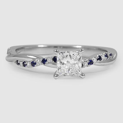 18K White Gold Petite Twisted Vine Diamond Ring // Set with a 0.47 Carat, Princess, Very Good Cut, G Color, VVS1 Clarity Lab Diamond (Modified with Diamond and Sapphire Sidestones) #BrilliantEarth