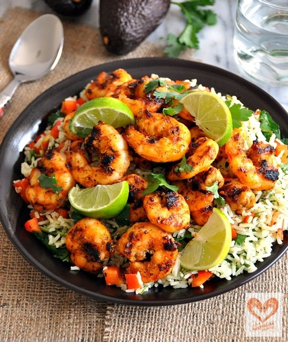 {'Love Australian Prawns' Campaign} Marinated Grilled Prawns with Green Rice Salad  | www.fussfreecooking.com