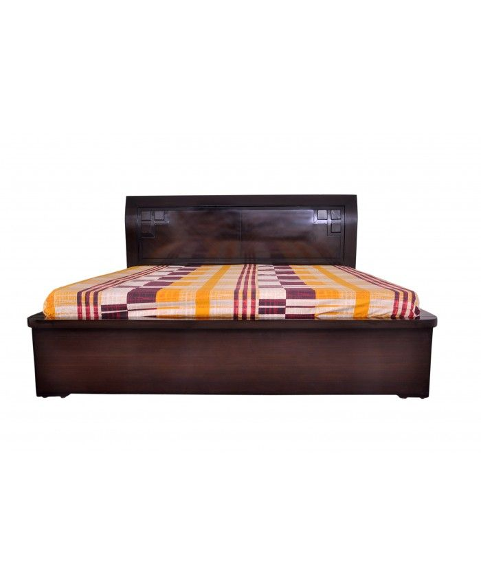 Espresso Wooden Double Bed With Storage Boxes #WoodenDoubleBed #AdlakhaFurniture #OnlineFurnitureInIndia