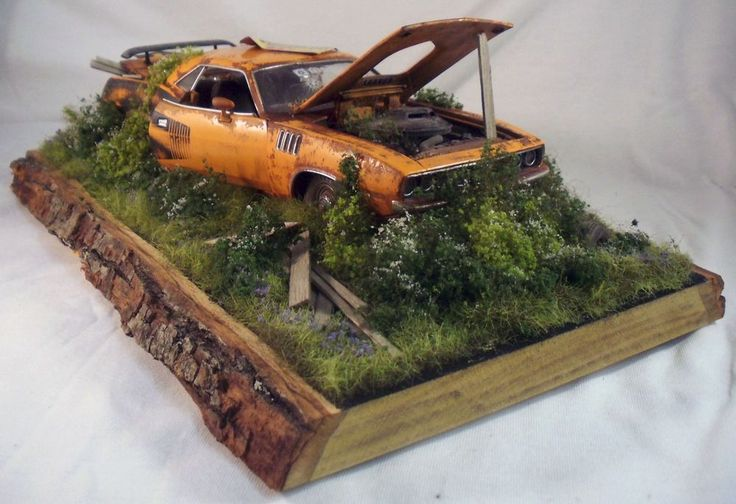 1971 Plymouth Hemi Cuda M2 Machines Barn Find Weathered 1/24 Custom Diorama  #CastlineM2Machines #1971PlymouthHemiCuda