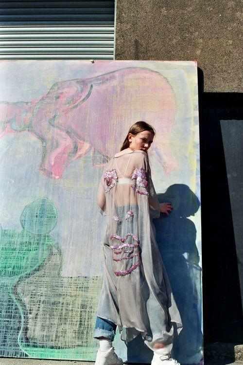 Burning Man kimono Grey and Pink