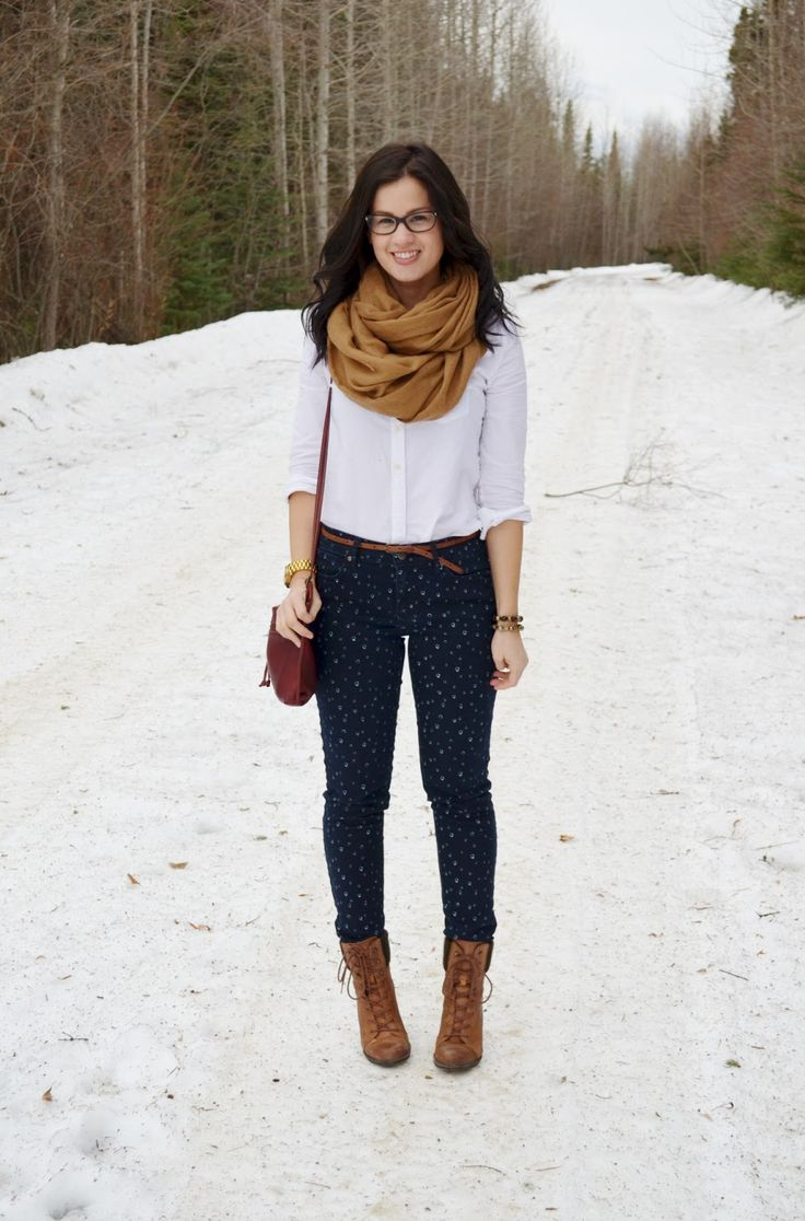 The scarf and pattern jeans make this outfit look absolutely adorable! I may have to steal this look!
