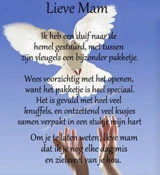 Voor jou Mam !!! Als is het nu bijna 4 jaar geleden, het lijkt als gisteren en ik mis je. Vooral op de dagen, zoals Moederdag.