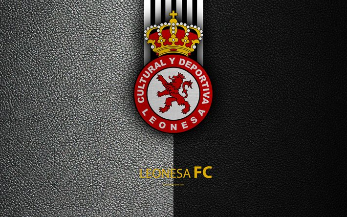 Download wallpapers Leonesa FC, 4K, Spanish Football Club, leather texture, logo, LaLiga2, Segunda Division, Leon, Spain, Second Division, football, Cultural y Deportiva Leonesa