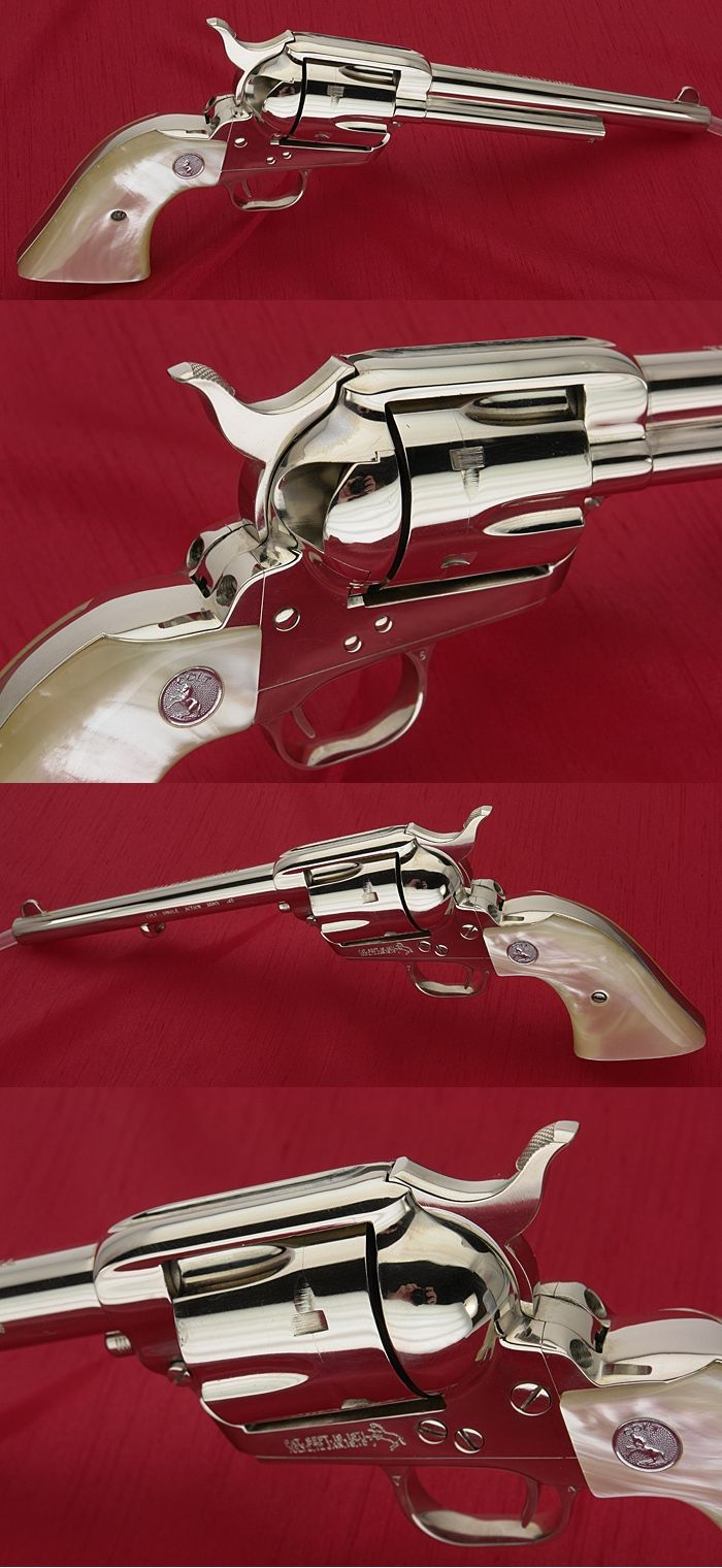 COLT SAA 3RD GENERATION - .45 REVOLVER 7-1/2 BARREL NICKEL WITH PEARL GRIPS - Picture 2