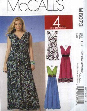 McCall's Sewing Pattern 6073 Misses 8-16 Easy Knit Sleeveless Empire Dress in Three Lengths