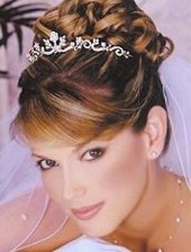 bridal updo with veil and tiara