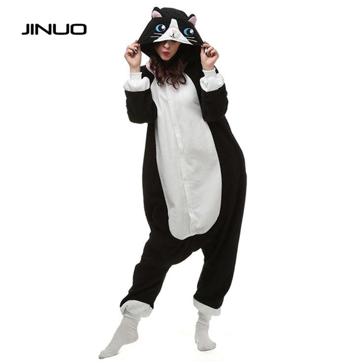 kigurumi Adults Pijama Black Cat Women Animal Pajamas Cosplay Unisex Pyjamas Sleepwear Costume Sleepsuit Plus S