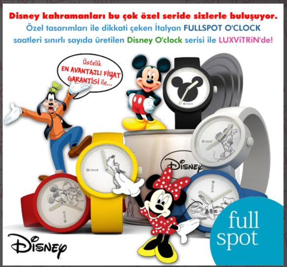 Disney kahramanları Fullspot Oclock özel Disney koleksiyonu ile buluştu. https://www.luxvitrin.com/marka/fullspot-oclock-saat