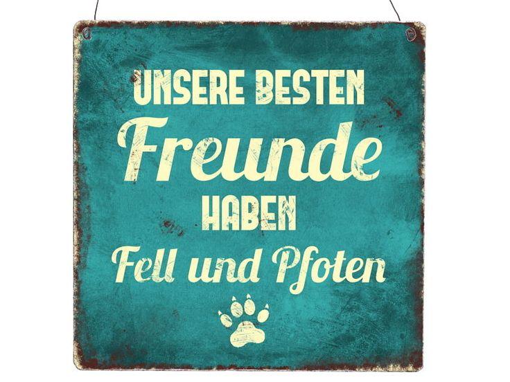 XL Shabby Holzschild UNSERE BESTEN FREUNDE HABEN FELL UND PFOTEN Hunde Geschenk