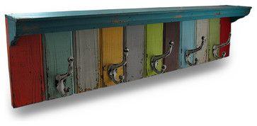 Multicolor 34 3/4 Inch Wood and Metal Weathered Wall Hook Shelf - traditional - Wall Hooks - Zeckos