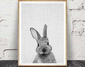 Rabbit Print Nursery Rabbit Wall Art by AnnasDigitalArtDeco