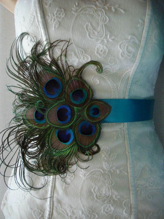 Peacock Wedding Bridal Sash or Belt, Peacock Feather Sash, Custom Colored Peacock Satin Sash or Belt