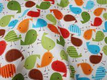 Stof Katoen ST97V prachtige kleurrijke vogels