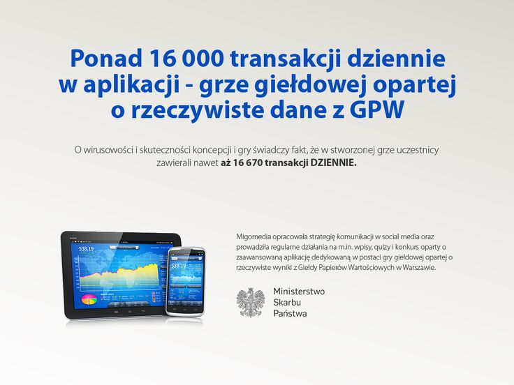 Ponad 16 000 transakcji dziennie w aplikacji - grze giełdowej opartej o rzeczywiste dane z GPW. #migomedia #socialmedia #social_media
