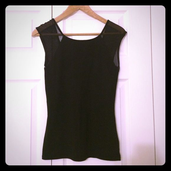 """FINAL SALEExpress XS Black """"Going Out"""" Top Express XS black top with fine mesh at shoulder sleeves. Absolutely gorgeous!!! Perfect for a night out or New Year's. Have to wear a strapless bra due to the sleeves. In perfect condition! FIRM on price unless bundled. Express Tops Tank Tops"""
