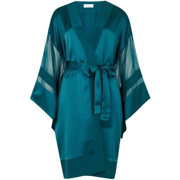 Womens Sleepwear Luna Di Seta Matt And Shiny Peacock Silk Robe ($310) ❤ liked on Polyvore featuring intimates, robes and silk robe