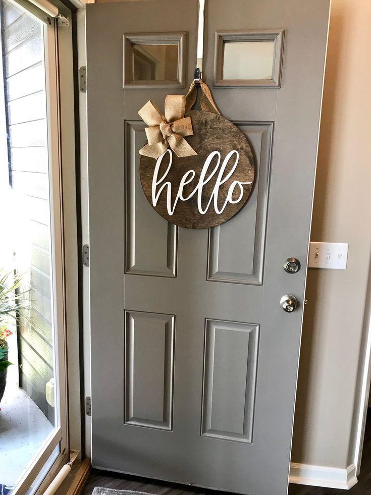 Door Wreath Wood Door Hanger Door Decoration Front Door Sign Hello Sign Front Door Deco In 2020 Shabby Chic Living Room Furniture Front Door Decor Easy Home Decor