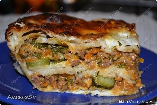 Рецепт мясного пирога из лаваша
