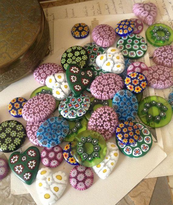 Millefiori Beads Cabochons Pendants - Old Shop Stock Millefiori Art Glass Cabochons (2) - Assemblage Jewellery Creation Art
