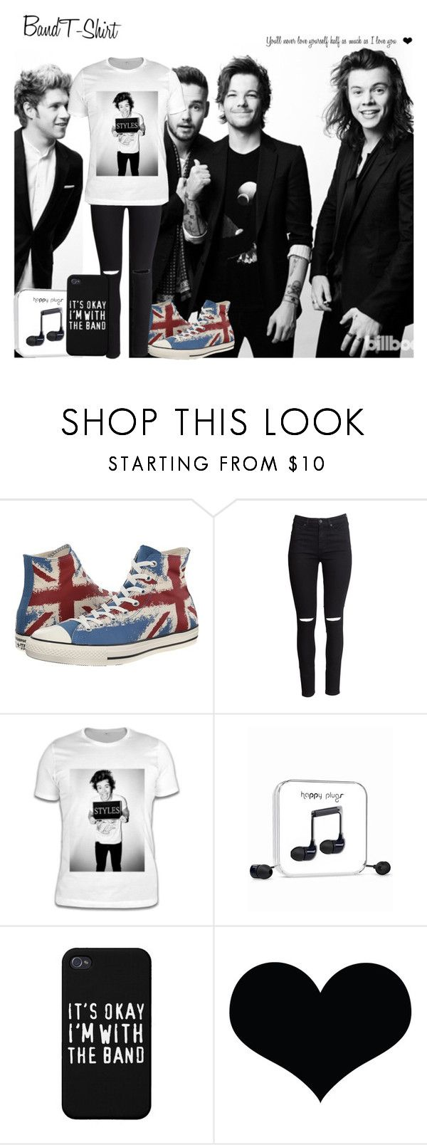 Band T-shirt by screaming-soul on Polyvore featuring H&M, Converse, Happy Plugs, OneDirection, directioner, bandtshirt and bandtee