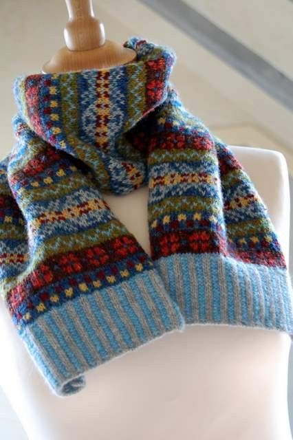 Hand Knit Fair Isle Scarf  by helengraydesigns