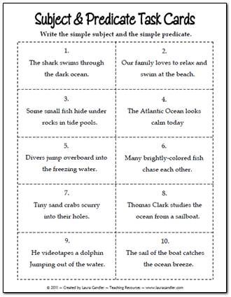 Subject and Predicate Task Cards freebie from Laura Candler's Teaching Resources