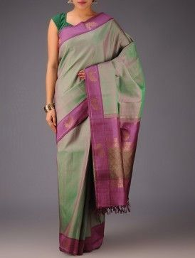 Purple Green Peacock Motifs Kanjivaram Silk Saree