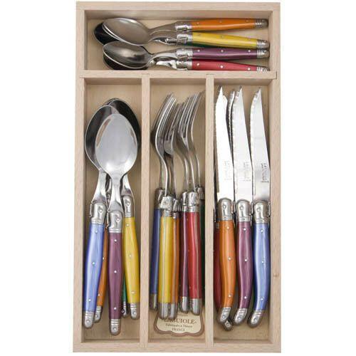 Andre Verdier Laguiole - Debutant Mirror - 24pc Cutlery Sets - Mixed Colours