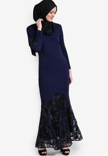 Sequins Pieced Mermaid Dress from Zalia in navy_4