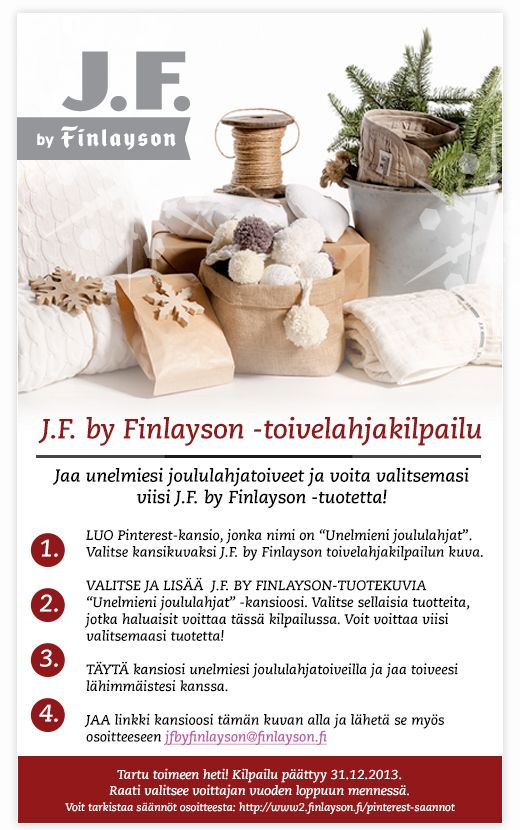J.F. by Finlayosn Wishlist contest   toivelahjakilpailu.  J.F. by Finlayson Wishlist Contest! Share the wish list of your dreams, and enter to win your chosen five (5) J.F. by Finlayson products!