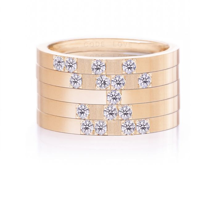CODE LOVE 'DREAM' Morse Code Union Ring - These unique and beautiful Union Rings have been designed to stack. There are 26 rings in the collection each representing a letter of the English alphabet. Designed using brilliant cut diamonds set in either rose, yellow or white gold you can create whatever your heart desires! www.codelove.com.au