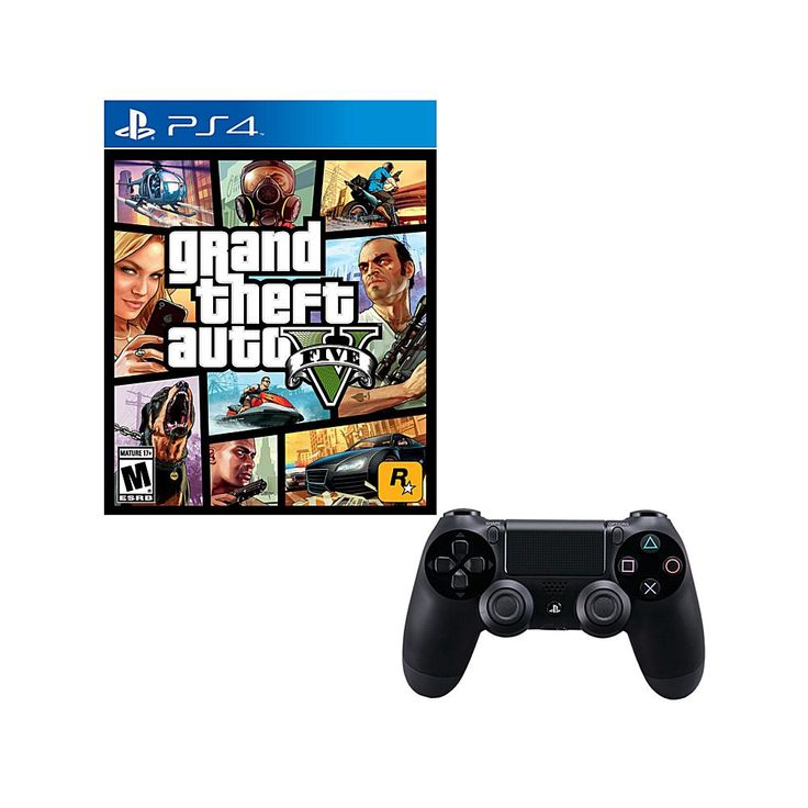 """PS4 """"Grand Theft Auto V"""" Game and DualShock 4 Controller"""