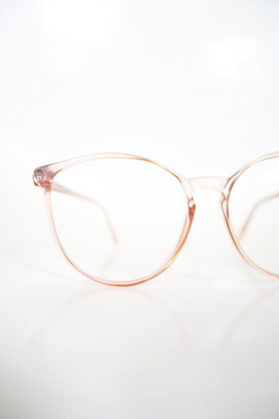 1980s Round Pink Eyeglasses Vintage Pastel Cotton Candy Clear Wayfarer 80s Eighties Glasses Optical Frames Womens Ladies Deadstock NOS