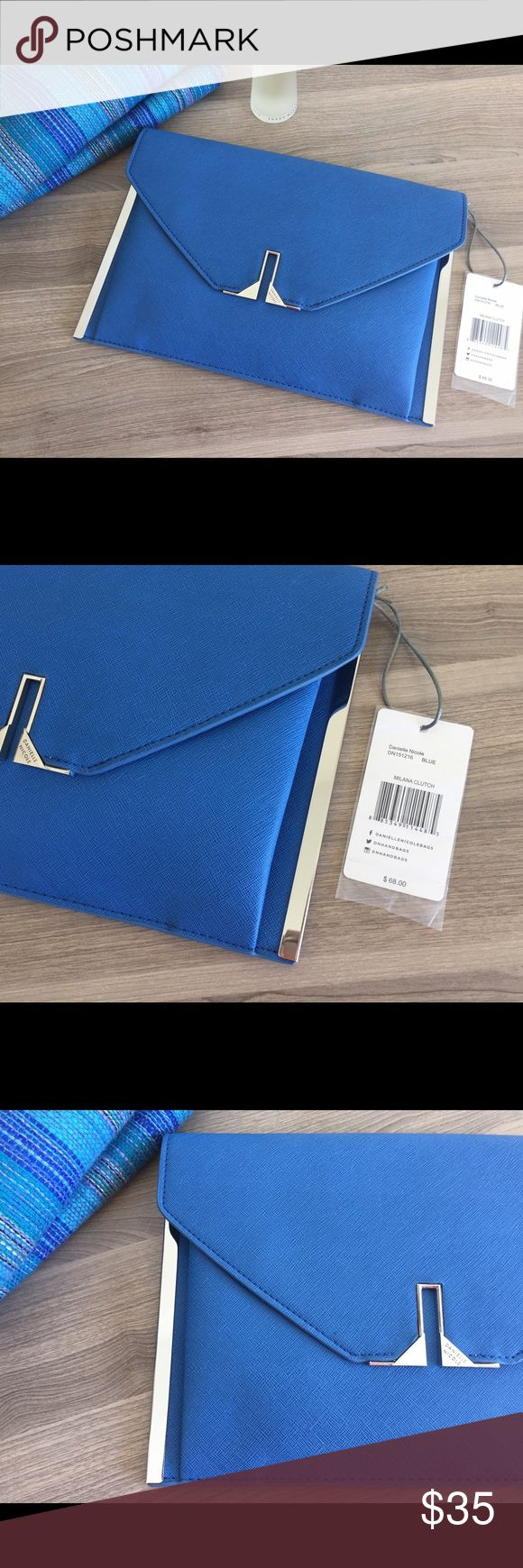 """Gorgeous Blue Clutch - Brand New!! Danielle Nicole Milana Clutch. Beautiful and versatile brand new (tags attached) blue clutch with silver metal detailing. Convertible clutch with shoulder strap included, fabric lined interior with one zipper pocket, snap magnetic closure. Measurements: body length 12.5"""", height 8.5"""", width 1.25"""", strap drop 14.5"""". Clutch is brand new, originally paid $68, selling as I have one in a similar color! Danielle Nicole Bags Clutches & Wristlets"""