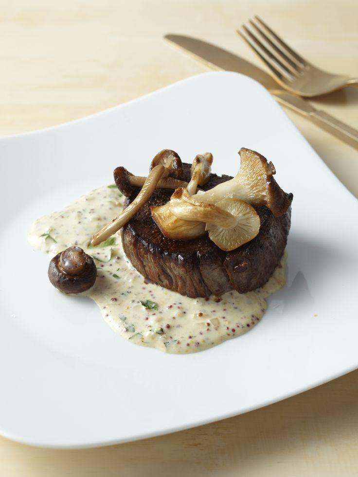 Filet Mignon with Mustard Cream and Wild Mushrooms                              …