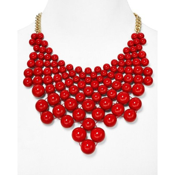 """Aqua Tracy Bubble Bib Statement Necklace, 16"""" ($23) ❤ liked on Polyvore featuring jewelry, necklaces, accessories, red, cherry tomato, bib necklace, bubble statement necklace, cherry jewelry, bib statement necklace and red jewelry"""