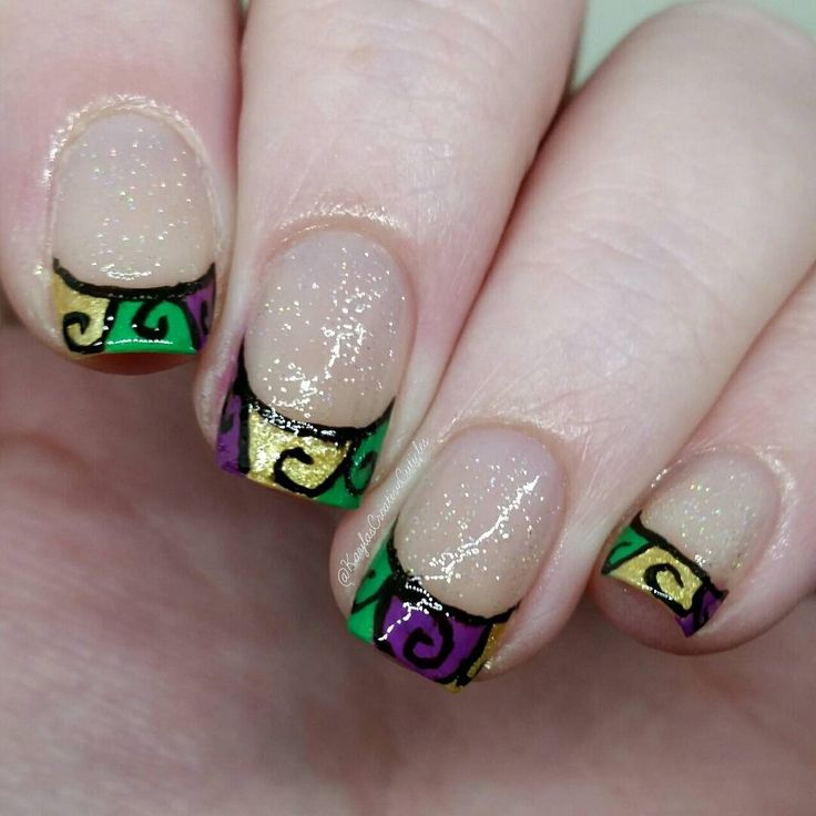 The 46 best Mardi Gras Nail Art images on Pinterest | Art nails, Fat ...