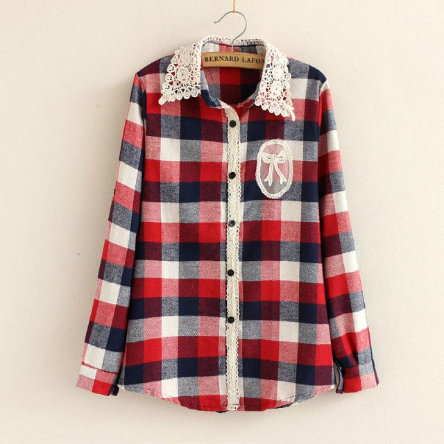 flannel shirts with lace | ... -Check-Shirt-Casual-Blouse-Lace-Turndown-Collar-Long-Sleeve-Plaid.jpg