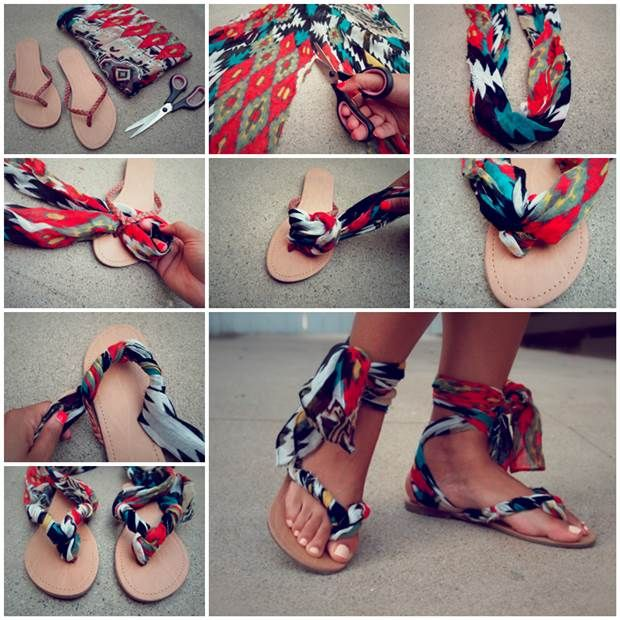 Refashion Flip Flops into Stylish Sandals #diy #fashion