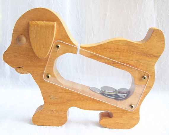Wooden Toy 70s Vintage coin bank toy puppy cutout by atVintage