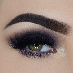 Black Smokey Eye with a Pop of Glitter