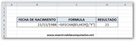Formula para Calcular la Edad en Excel