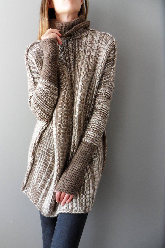 9d1cf04004f Handmade Oversized /Loose knit woman sweater. Thumb holes, turtleneck  sweater. Chunky knit sweat