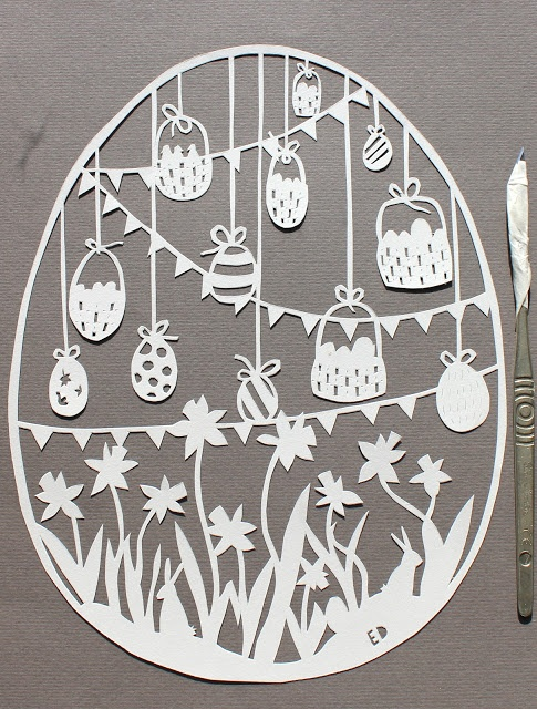 made by ED: easter egg paper cut...