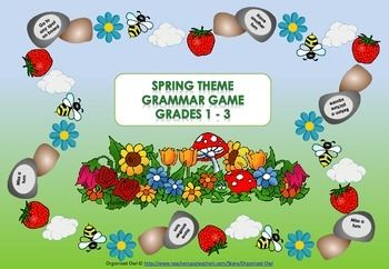 Having fun while learning!  This game is specifically aimed at Grades 1 - 3 and students under support to develop common grammar understandings in a fun way, but it also depends on individual abilities.   The game is great for Work Stations, Early Finishers and a great resource for the Relief / Substitute / Temp Teacher.  Grammar Covered: Adjectives Verbs Rhyming Words Vowels Nouns More Products at my store: http://www.teacherspayteachers.com/Store/Organised-Owl