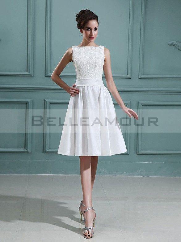 Robe de mariée Courte Bateau Dentelle Taffetas A-ligne Blanche