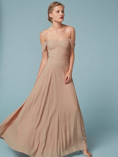 It's rude to make your friends look like cupcakes.  This is a floor length dress with a cold shoulder, a sweetheart neckline and adjustable straps.